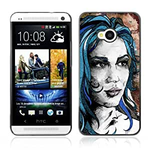 Designer Depo Hard Protection Case for HTC One M7 / Beautiful Girl Painting