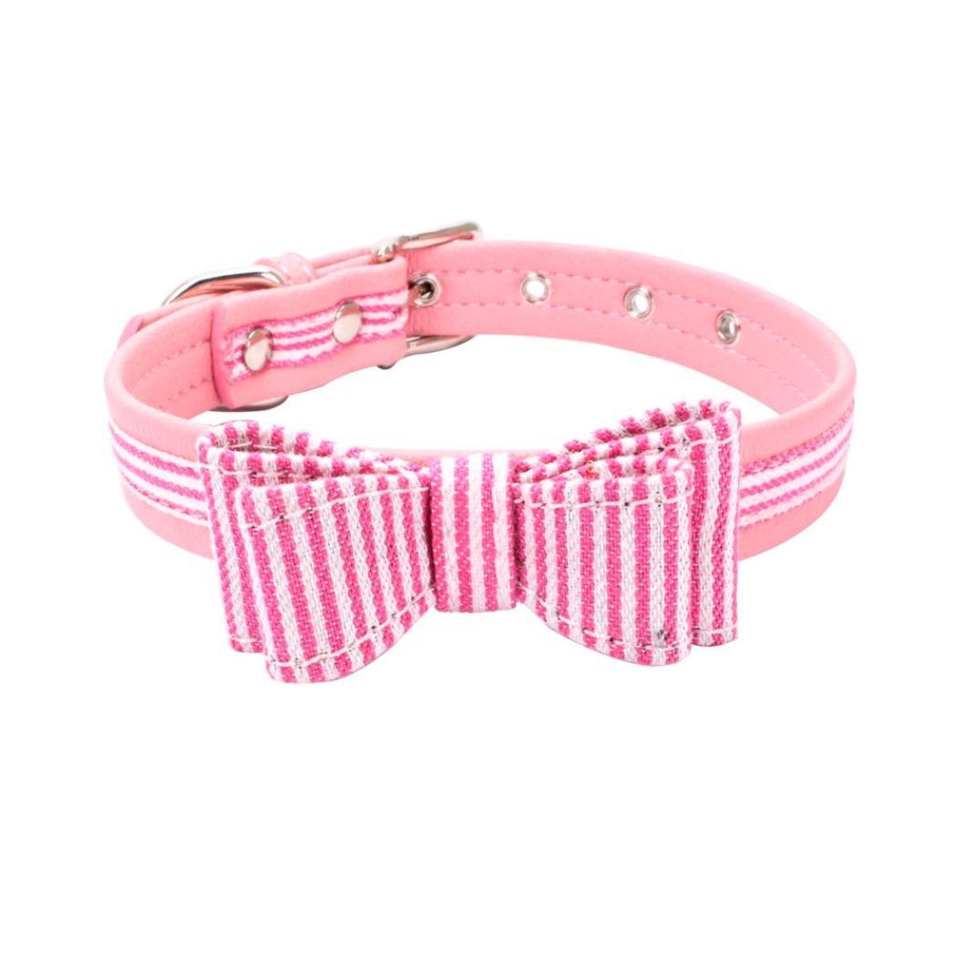 jeeKeペットカラー、絶妙な調整可能蝶結び布犬の首輪子犬首輪 B07D8GWT1X  ピンク X-Small