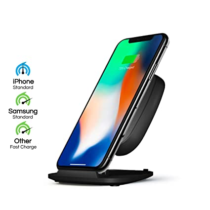 Wireless Charger Stand by ZENS - Adjustable Qi Charging Pad Features 10W  Base - Works with iPhone 8/8+/X, Samsung Galaxy S7, S8, Android, All Other  Qi