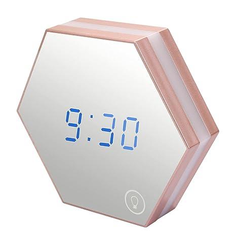 Skitic multifunción digital Espejo reloj despertador, USB ...