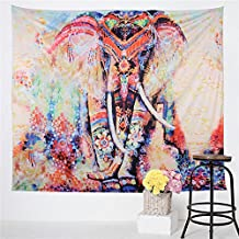 Sleepwish Watercolor Elephant Tapestry Psychedelic Bohemian Tapestries Wall Hanging Decor Indian Home Hippie Bohemian Tapestry for Dorms (Horizontal, 59 X 51 Inches)
