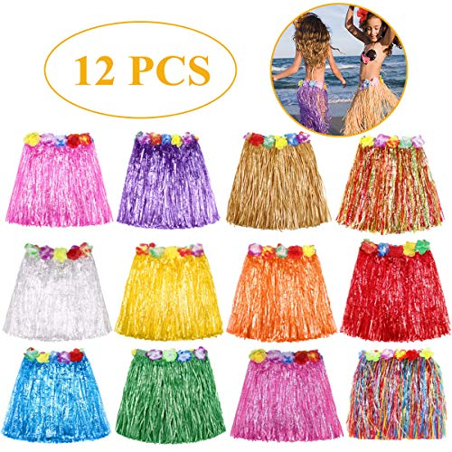 (Grass Skirt Hawaiian Luau Hula Skirts Party Decorations Favors Supplies Multicolor Grass skirts for kids Elastic Hibiscus Flowers Tropical Hula Skirt for Party, Birthdays, Celebration 12 PACK)