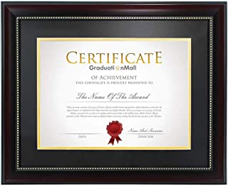product image for flag connections 11x14 Diploma Frame for 8.5x11 Document/Certificate with Black Over Gold Double Mat |Real Glass|Mahogany with Gold Beading