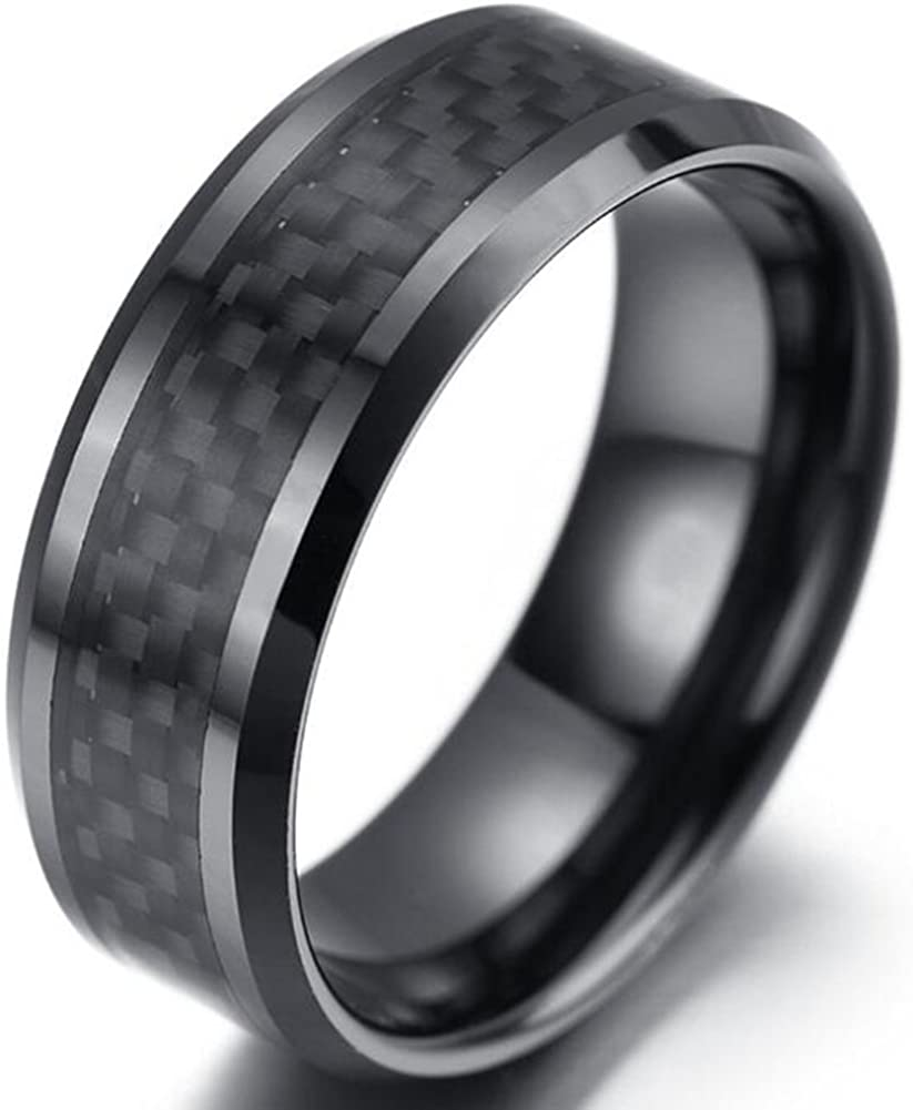 TEMEGO Jewelry Tungsten steel Ring Simple Plain Plaid Pattern Band Black Silver