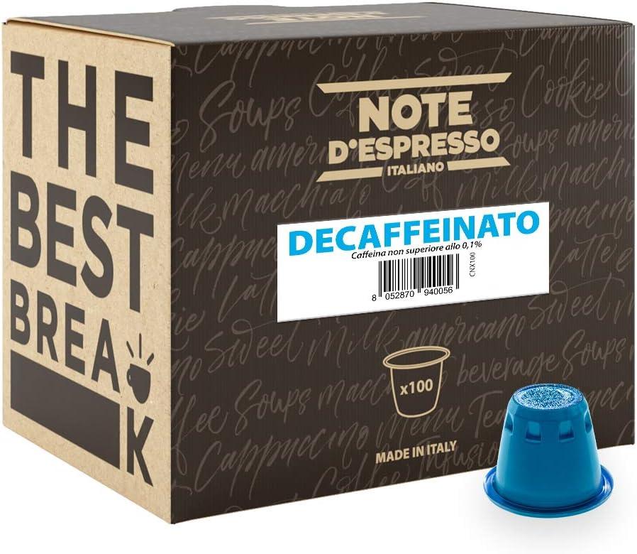 Note D'Espresso Cápsulas de Café Descafeinado exclusivamente compatibles con afeteras Nespresso* - 100 Unidades de 5.6g, Total - 560 g