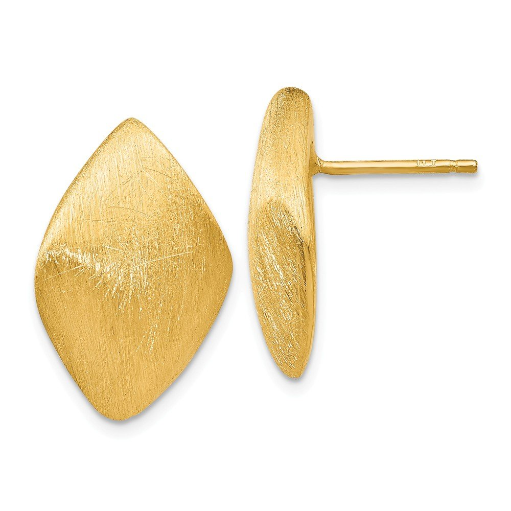 Leslie's Sterling Silver Gold-plated Scratch Finish Post Earrings
