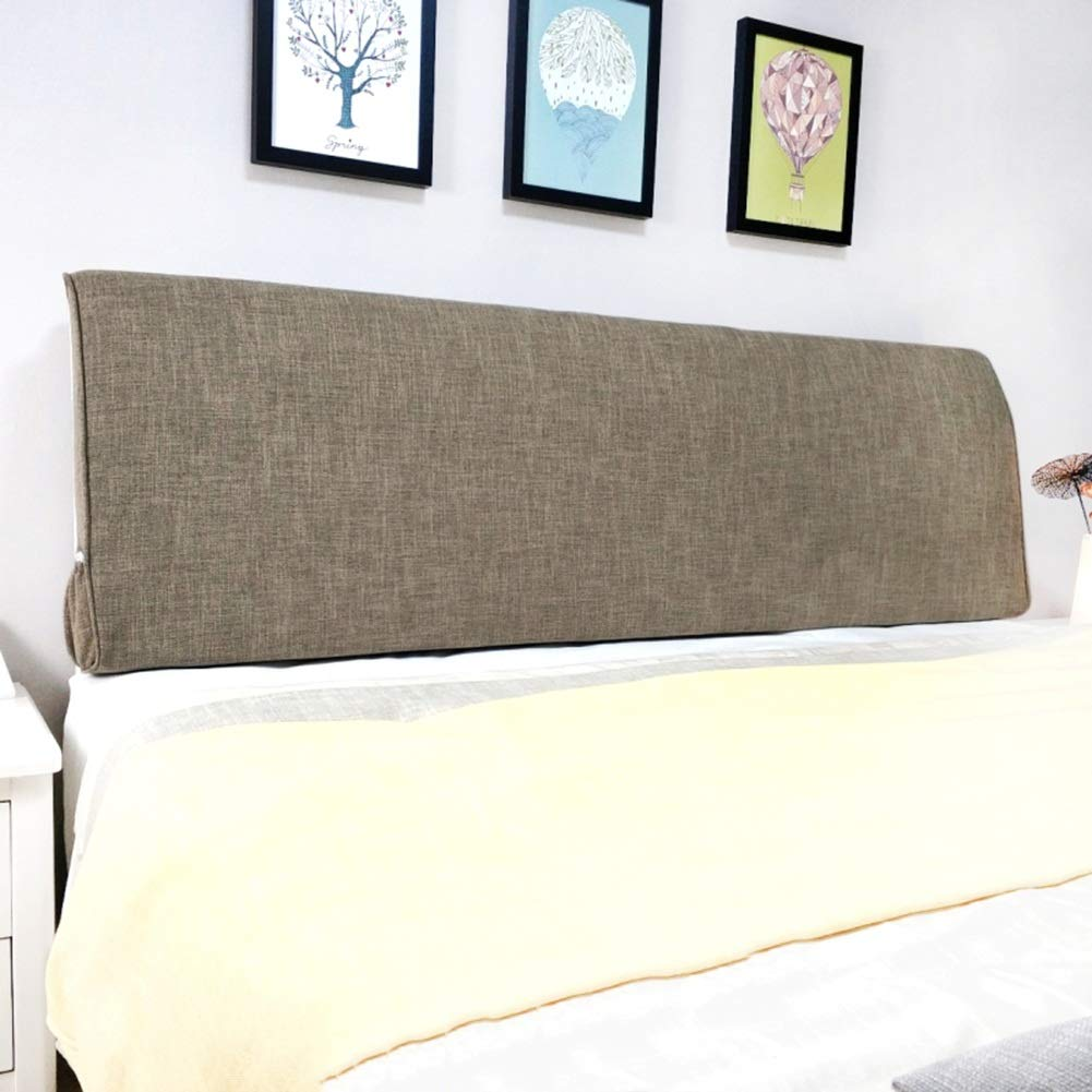 PENGFEI Cushion Bed Backrest Headboard Soft Pack Waist by Pillow Cotton and Linen Washable, with/Without Headboard Standard, 4 Colors, 9 Size (Color : Dark Gray with Headboard, Size : 90CM)