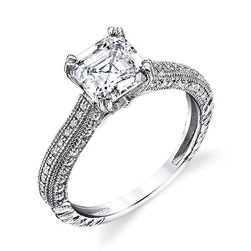 925 plata de ley Asscher Corte Cuadrado Cz Boda y anillo de compromiso de diamantes simulados: Minxwinx: Amazon.es: Joyería