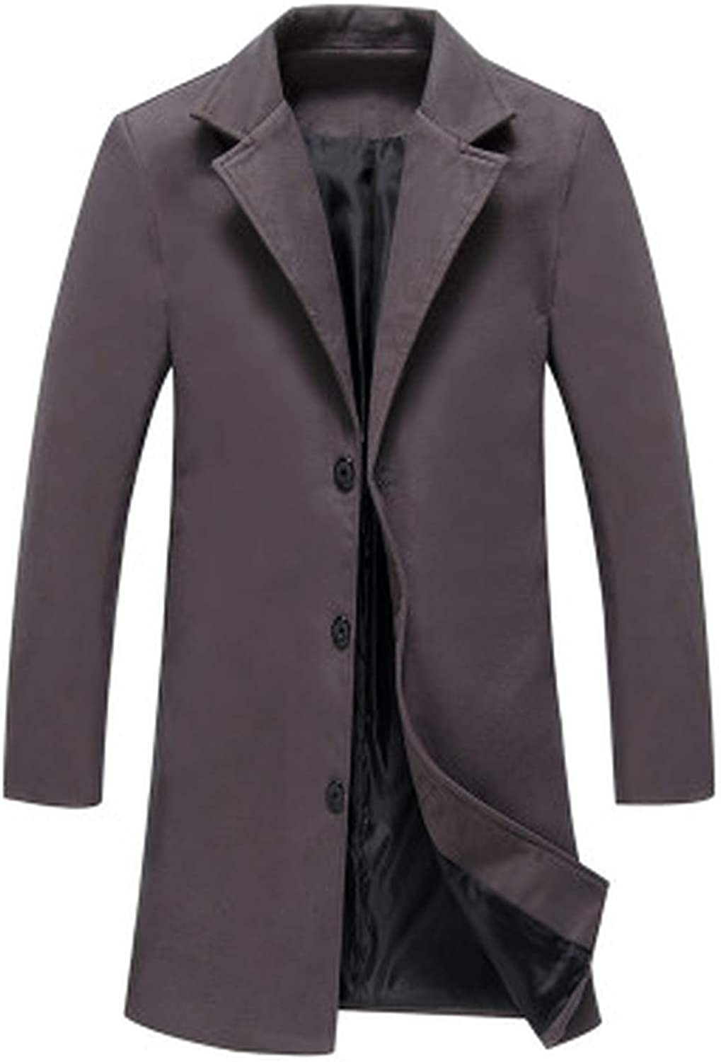 Wool Blend Jacket Trench Coat Men/'s Slim Fit Double Breasted Heavy Elegant New