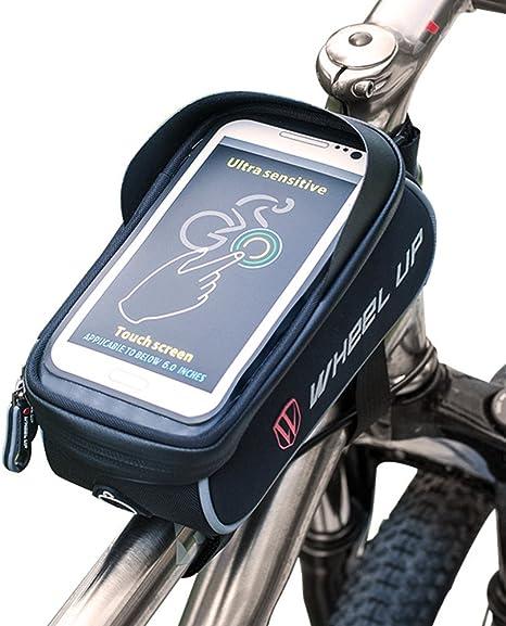 West ciclismo bicicleta manillar bolsa, impermeable bolsa de tubo frontal para bicicleta alforja con pantalla táctil teléfono móvil para móvil por debajo de 6.0 inch, Infantil hombre mujer, Black gray: Amazon.es: Deportes