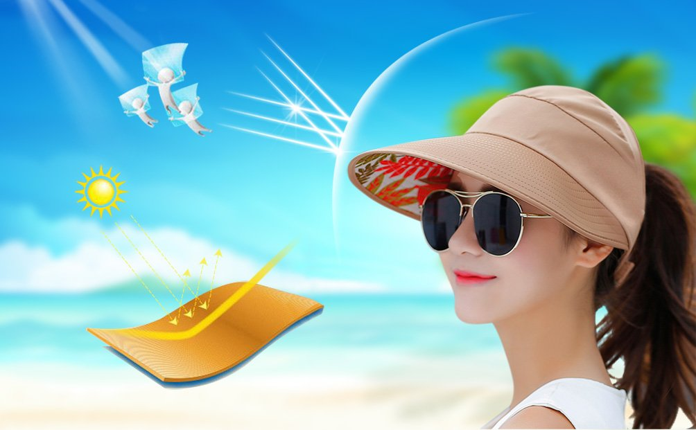 HindaWi Sun Hats for Women Wide Brim UV Protection Visor Floppy Hat Beach Summer Packable Caps by HindaWi (Image #7)