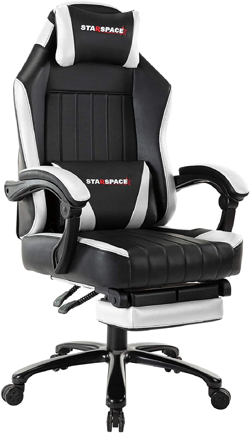 STARSPACE Big & Tall 350lb Gaming Chair Massage- Retractable Footrest Metal Base High Back Reclining Racing Executive Computer Desk Office Chair Adjustable Back Angle (White)