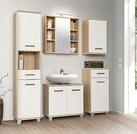 Forte Mobel Badezimmer Komplett Set Veris 5 Tlg Badmobel Front Weiss Hochglanz Amazon De Kuche Haushalt