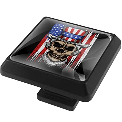MEETNew 3 Pack Square Cabinet Drawer Knobs with Skull in Front of USA Flag, Glass Cabinet Door Knob Furniture Pulls Handle for Home, Kitchen, Cupboard and Dresser, Kids Room: Home & Kitchen