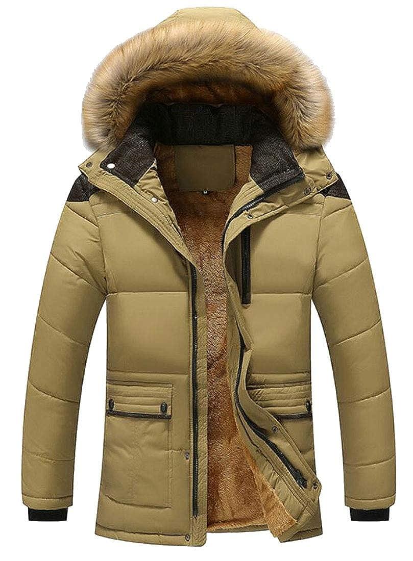 YONGM Mens Parka Coat Thicken Cotton Warm Puffer Jacket with Faux-Fur Hood