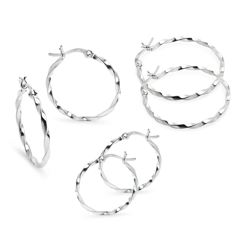 Twisted Sterling Silver 25mm 30mm 35mm Set Small Medium Hoop Earrings 1.5mm Set