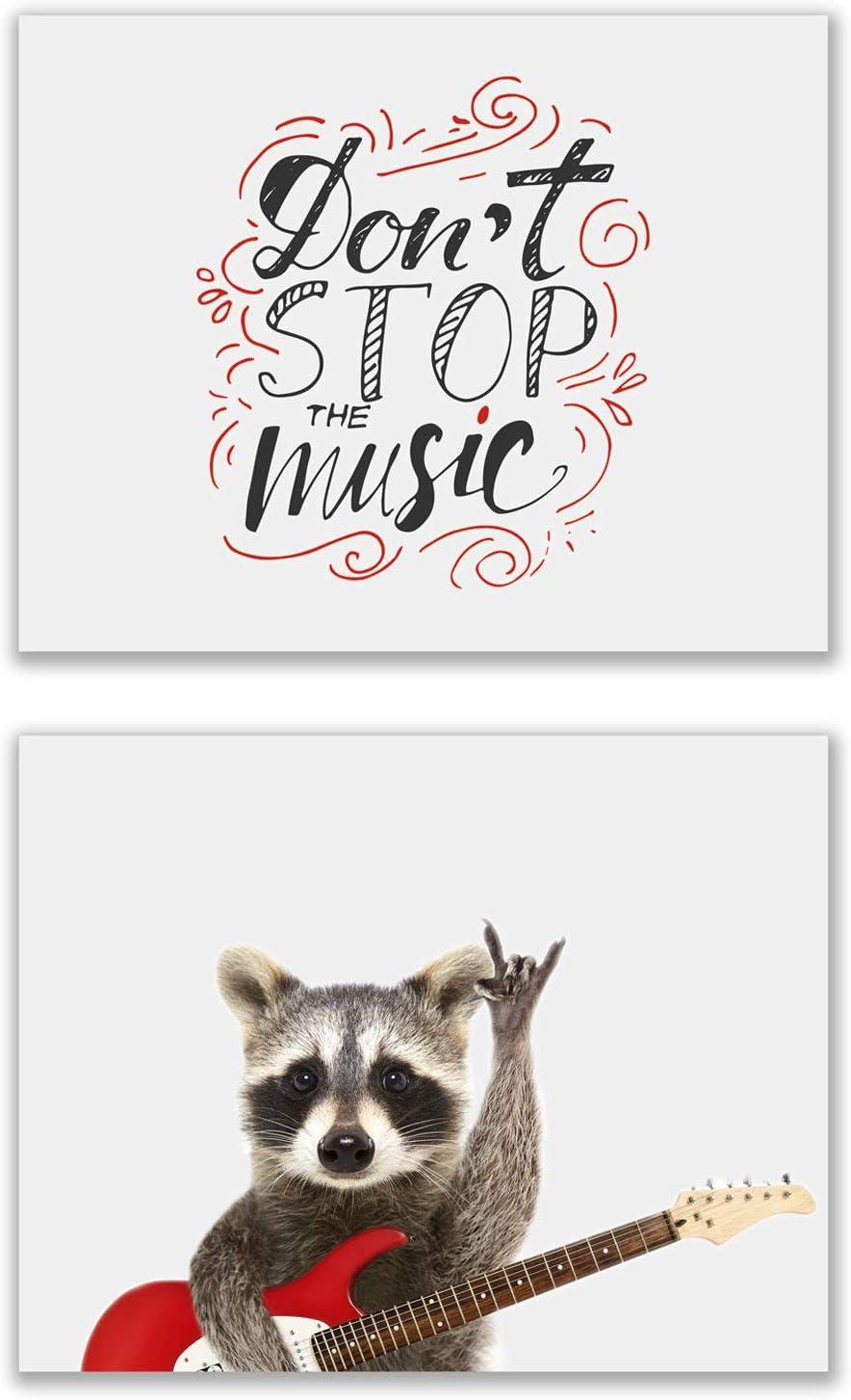 Rocker Raccoon Poster Prints - Set of 2 (11x14) Glossy Cute Red Funny Guitar Music Animal Photography Wall Art Decor