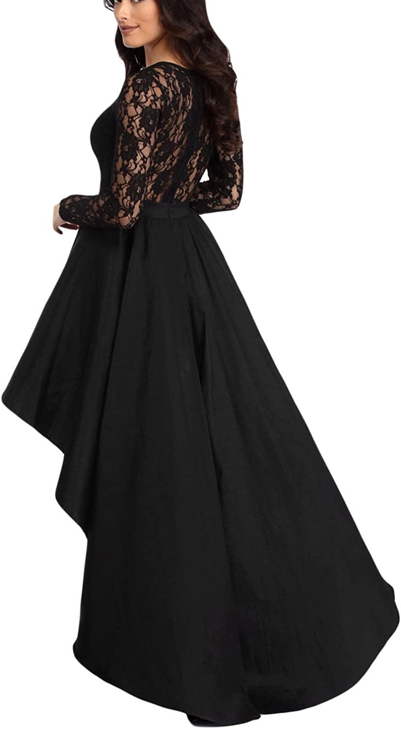Bdcoco Women's Vintage Lace Long Sleeve High Low Cocktail Party Dress: Clothing