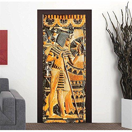3D Door Stickers Wall Decals-Egyptian Pharaonic Self-adhesive Mural Wallpaper Door Decals Waterproof Removable DIY Wall Stickers Decals for Door Art Home Decoration Poster 30.3x78.7