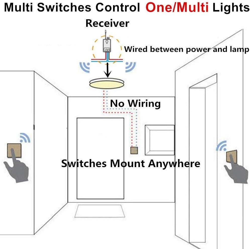 Ensemble dinterrupteur et r/écepteur sans fil YblntekT/él/écommande dext/érieur pour ext/érieur de 1 900 pi /à lint/érieur avec interrupteur /à panneau lumineux sans fil