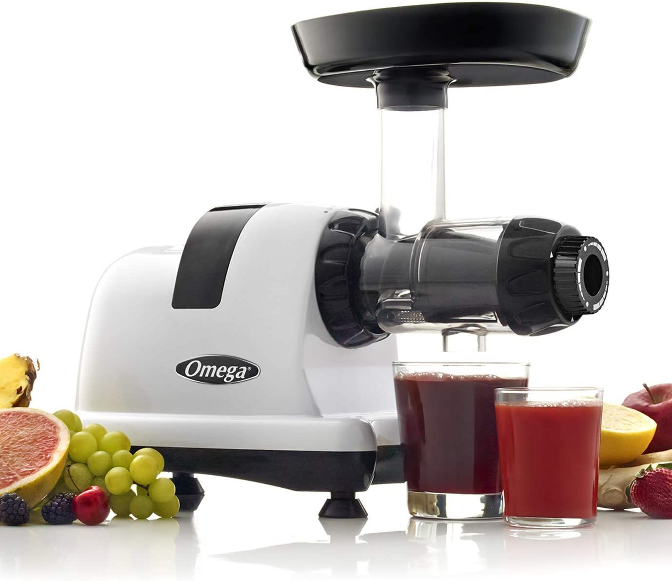 Omega J8006HDS Nutrition Center Quiet Dual-Stage Slow Speed Masticating Juicer Makes Fruit and Vegetable 80 Revolutions per Minute High Juice, 200-Watt, Silver (Renewed)