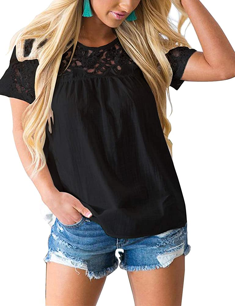 9e06c0613859 Blooming Jelly Women's Round Neck Short Sleeve Lace Top Ruffle Chiffon  Blouse Casual Loose Shirt(