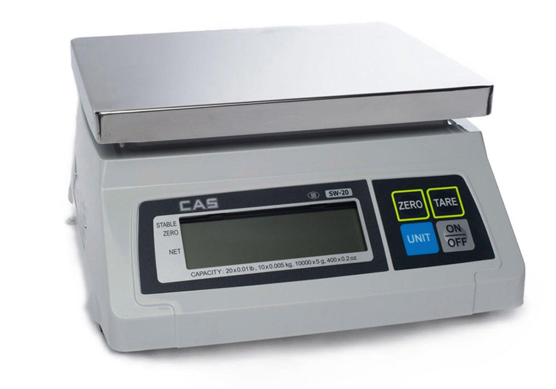 CAS SW-1 (20) SW Series Portion Control Bench Scale, 20lb Capacity, 0.01lb Readability