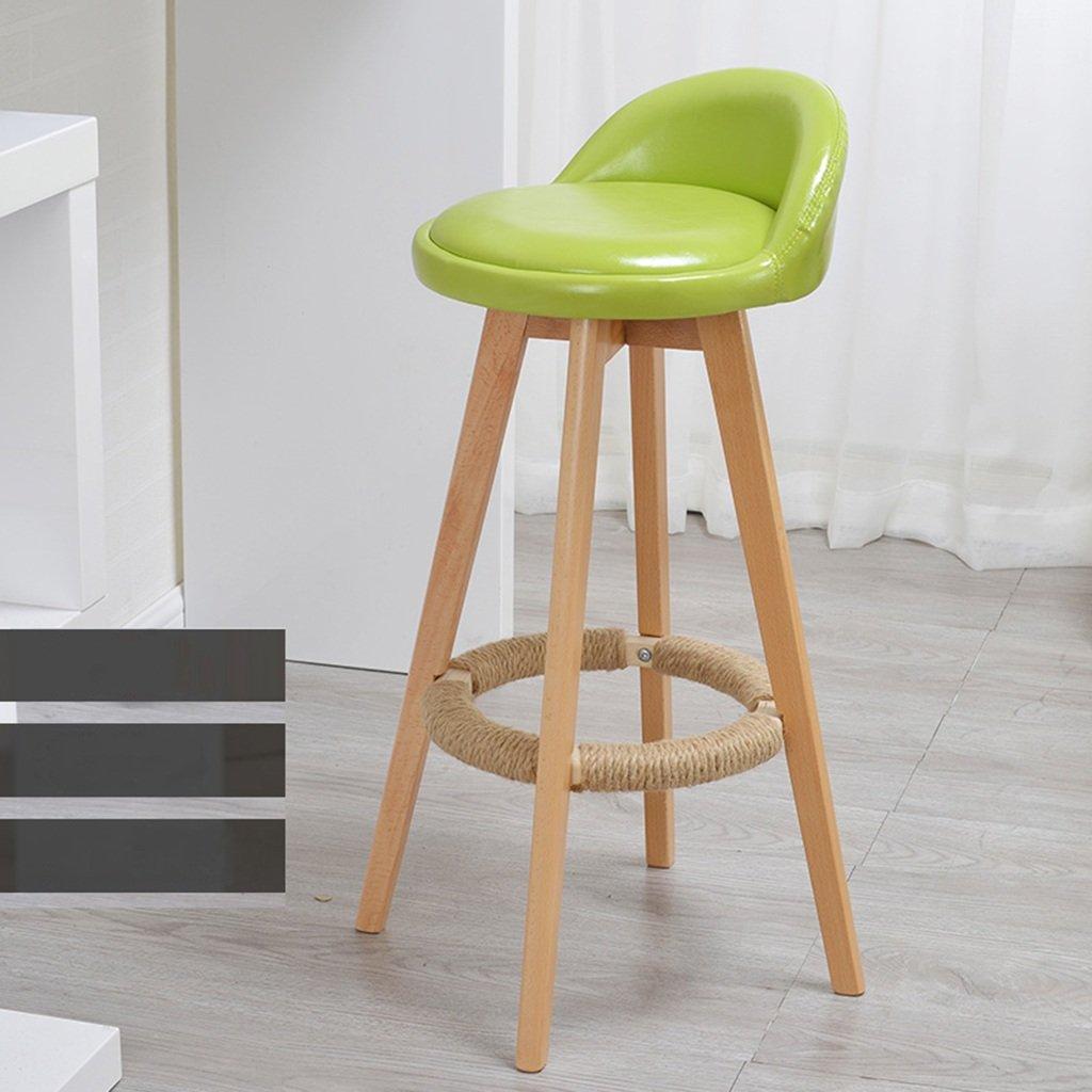 スツールミニマル、ソリッドウッド、レザークッションバークリエイティブハイチェアヨーロピアンスタイルの木製の椅子ヴィンテージバースツールの高さ73cm (色 : 緑) B07CHBJ5WM緑