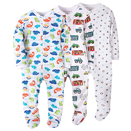 Dinosaur/Car/Anchor Baby Boys' Footed Pajama - 100% Cotton Zip Front Sleep and Play Sleeper 18Months