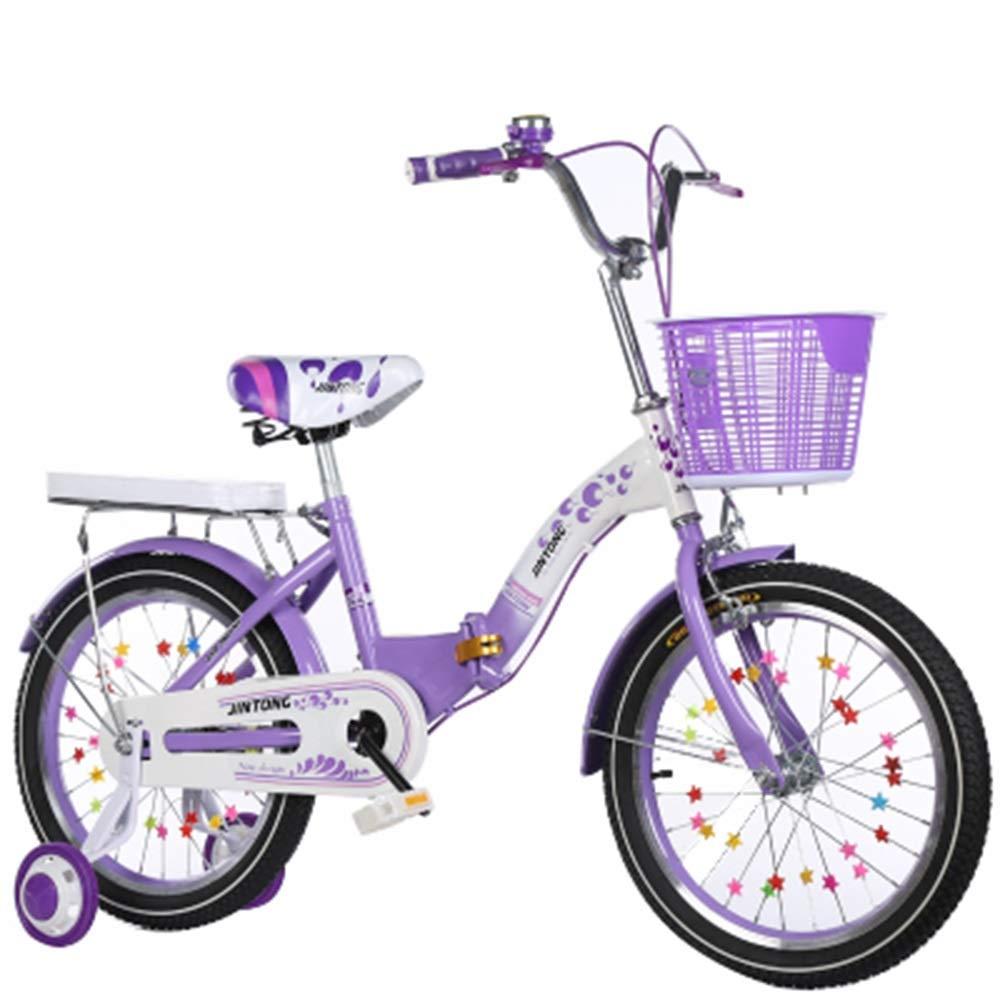 YUMEIGE 子ども用自転車 子供用自転車トレーニングホイール付き子供用自転車16/18/20インチ男の子と女の子のサイクリング、子供用411歳ピンクパープル 利用できるサイズ (色 : 紫の, サイズ さいず : 18in) 18in 紫の B07QJ618B8