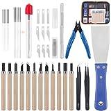 Rustark 34 Piece 3D Printer Accessories Tool Kit Cleaning Needles, Tweezers, Pliers, Scarper, Clean up Knives, Carving…