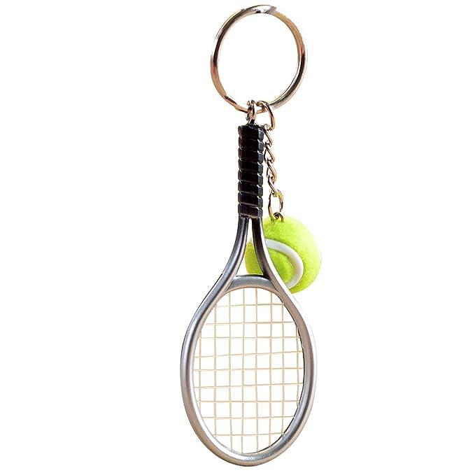 Naovio - Llavero de raqueta de tenis (metal, diseño de ...