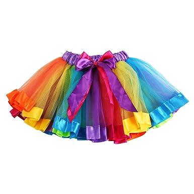 PERILA Falda de tutú Arcoiris para niñas Falda de Tul Vestido de ...