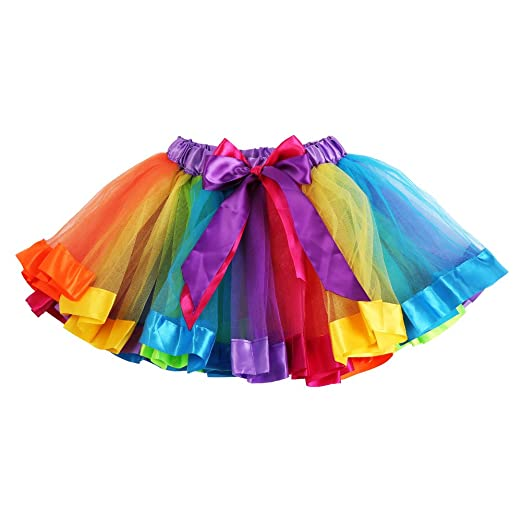 Girls Layered Rainbow Tutu Skirt Dance Colorful Ruffle Tiered Tulle Dress