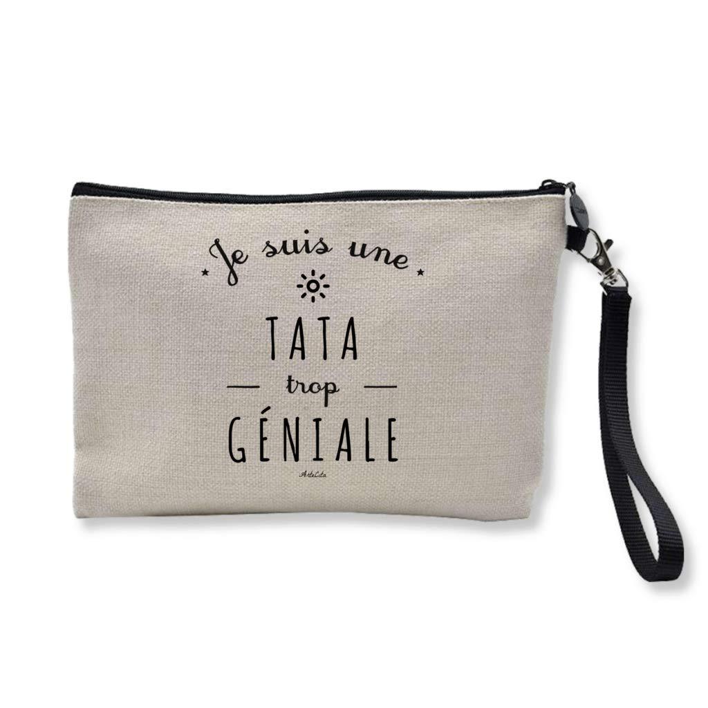 ArteCita Pochette Trousse Imprimé e Premium en Lin - 24x15cm : Je suis une Tata trop gé niale