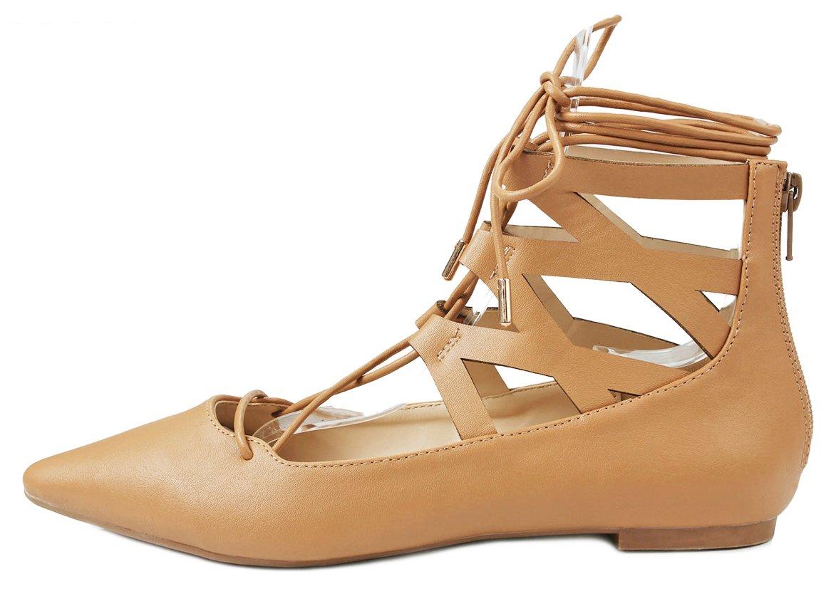 Women Lace Up Cut Out Ankle Cuff Dress Ballet Flats B01DCX0KBA 7 B(M) US|Natural Pu