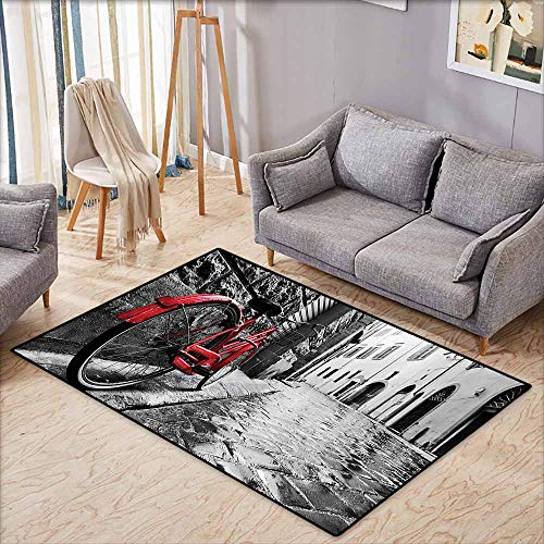 Anti-Static Rug Bicycle Decor Classic Bike on Cobblestone Street in Italian Town Leisure Charm Artistic Photo Red Black and White Country Home Decor W5'9 xL4'9