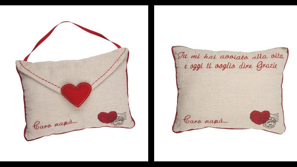 15x20 sobre//Corazones Almohada Decorativa Postal del Amor Beige//Rojo Regalo Almohada Cojin Bordado en Lengua Italiana Rom/ántico R/ústico Country Chic