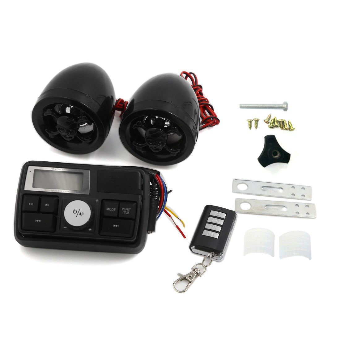 uxcell Anti-Theft Motorcycle Skull Design Audio Stereo Speaker Remote System Black