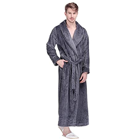 99bc6b7b79 Bathrobe Men Dressing Gown Towelling Terry Fluffy Boy Luxury Long Plus Size  Pyjamas For Spa Bath (Color   GRAY
