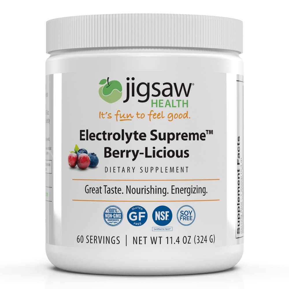 Jigsaw Health - Electrolyte Supreme Powder Drink Mix - Great Berry-Licious Flavor - Broad Spectrum of Electrolytes + Trace Minerals - 60 Servings per Jar
