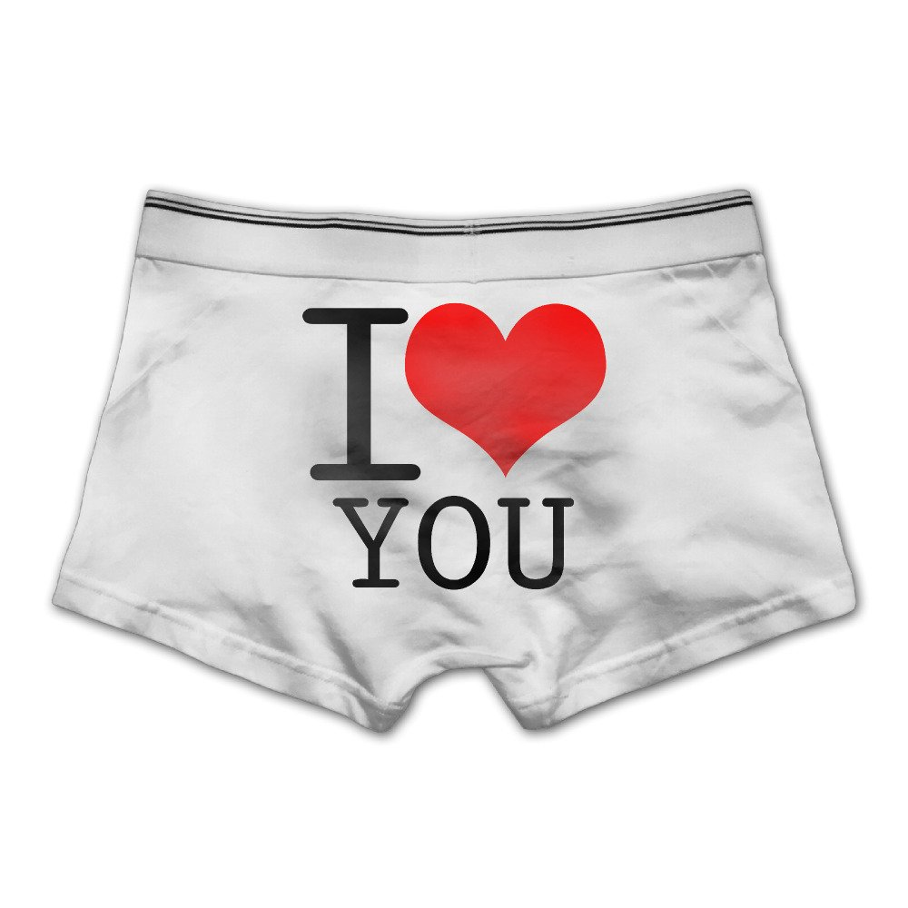 DACHEN Men's Performance I Love You Cotton Boxer Brief Underwear L Ash