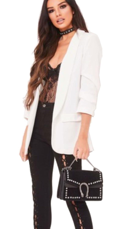 New Womens 3//4 Ruffle Frill Sleeve Longline Jacket Open Front Blazer Duster Coat