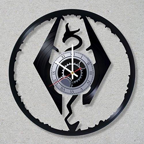 Vinyl Record Wall Clock Skyrim Game decor unique gift ideas for friends him her boys girls World Art Design
