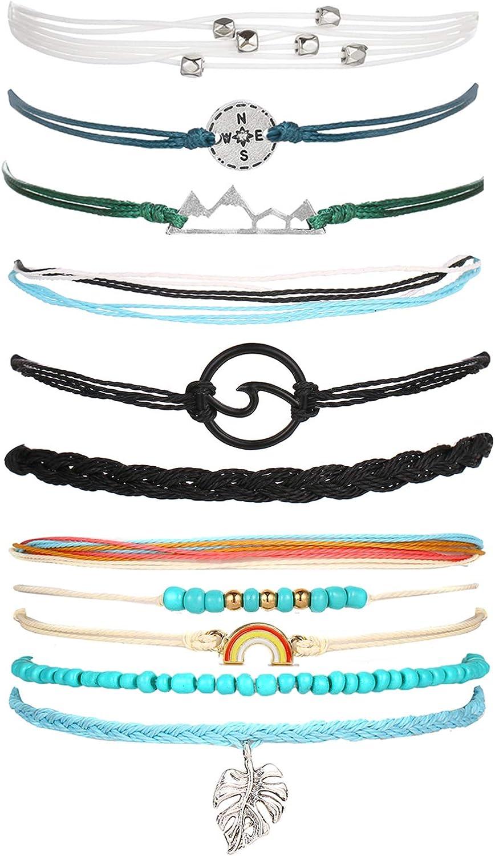 Adramata 18 Pcs Ocean Wave Surfer Waterproof Bracelet for Women Men Vsco Strand Roped Adjustable Bracelets Handcrafted Friendship Wax Braided Bracelet Set