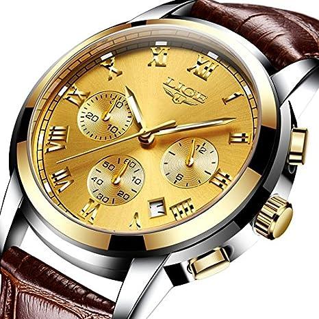 Amazon.com: Relojes de Hombre Reloj Men Cronografo De Cuarzo Moda para Caballero Caja de Acero Inoxidable RE0109: Watches