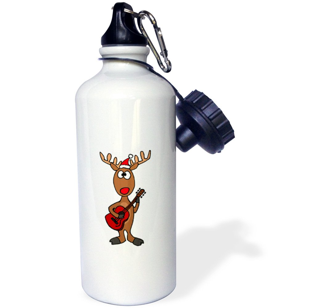 21 oz Multicolor 21oz 3dRose Funny Rudolph The Red Nosed Reindeer Playing Guitar Christmas-Sports Water Bottle wb/_200109/_1
