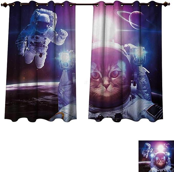 RuppertTextile Space Cat Blackout - Cortinas térmicas para Sala de Estar, diseño de Gato Astronauta en el Espacio Exterior, Nebulosa y Galaxy Cosmos: Amazon.es: Juguetes y juegos