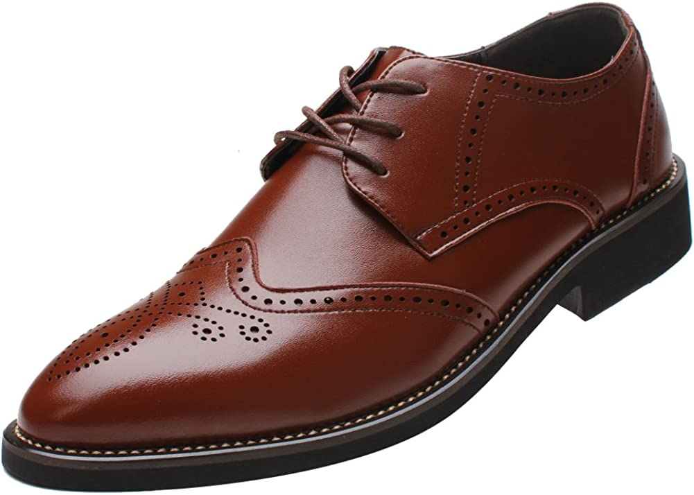 British Mens Business Leisure Leather Shoes Oxfords Lace up Pointy Toe Office Sz
