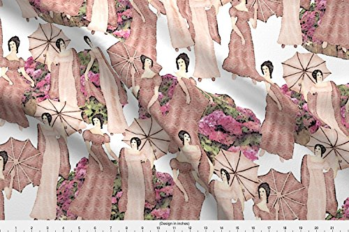 Jane Austen Fabric - Spoonflower Jane Austen Fabric Summer Stroll by Kociara Printed on Minky Fabric by the Yard
